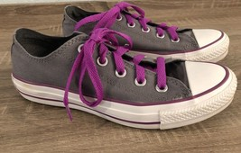 Converse Women's Low Top Gray Purple Magenta All Star Sz 6 Lace Up Shoes  - $29.42