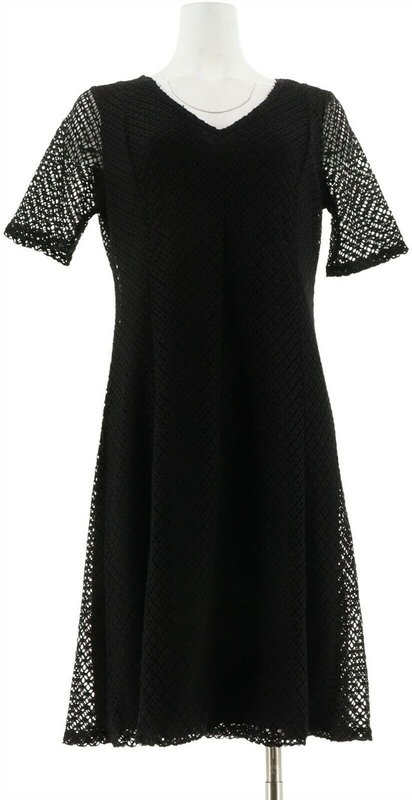 Primary image for Liz Lange Crochet Easy Fit Flare Dress V-Neck Short Sleeves BLACK S NEW 530-753