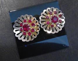 Coro Round Open Gold Tone Dark Red Rhinestones Vintage Screw on Earrings  - $9.45