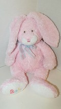 Ty Pluffies Love to Baby pink bunny rabbit blue bow Plush 2005 embroider... - $11.57
