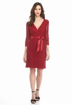 NWT ADRIANNA PAPELL RED VISCOSE LACE BELTED SHEAT DRESS SIZE 10 $165 - $54.99
