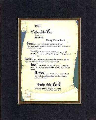 Primary image for Personalized Poem for Father - Father of the Year Award on 11 x 14 inches Double