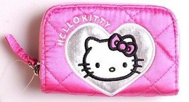 """Hello Kitty 4.5"""" x 3"""" Pink Silver Heart Zippered Coin Wallet NEW image 1"""