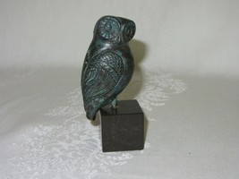 Vintage Owl Bird Figurine Metal Bronze ? Copper Sculpture on Stone Base - $33.65