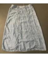 Christopher And Banks Chambray Skirt 6 Linen Blend A-Line Light Blue Modest - $14.84