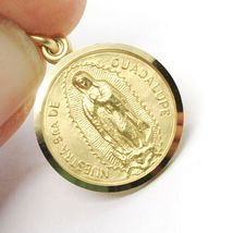 SOLID 18K YELLOW GOLD LADY OF GUADALUPE, 13 MM, ROUND MEDAL MADE IN ITALY SENORA image 4