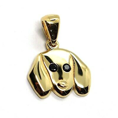 18K YELLOW GOLD MINI PENDANT, DACHSHUND DOG, SMOOTH BLACK ZIRCONIA MADE IN ITALY