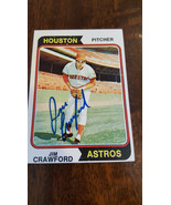 1974 TOPPS SIGNED ROOKIE CARD JIM CATFISH Crawford Houston Astros Tiger ... - $55.31