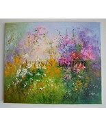 Meadow Original Oil Painting Pink Purple Wild Flowers Daisies Impasto Pa... - $350.00