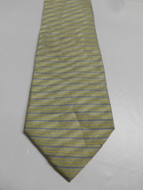 Kenneth Cole Light Green Silk Necktie w/ Small Yellow and Blue Horizanta... - $6.23