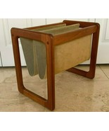 Mid Century Vintage Danish Denmark Teak Wood and Suede Magazine Rack Holder - $147.51