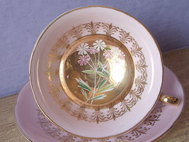 Vintage 1960's Mid Century England pink and gold bone china tea cup teac... - $48.51