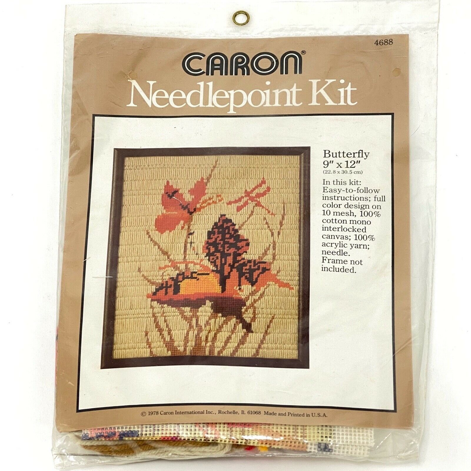 Primary image for Vintage 70's Butterfly Needlepoint Embroidery Crewel Stitchery Kit Boho 9x12