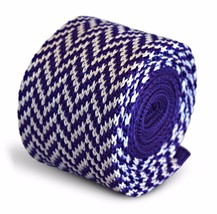 Frederick Thomas Knitted Skinny Cadbury Purple and White Herringbone Tie... - $18.25
