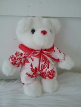 White Bear Plush with Red Roses Red Nose Mty International Stuffed Anima... - $7.12