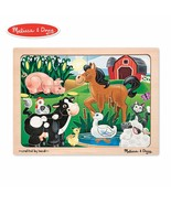 Melissa & Doug Fresh Start 12 Piece Wooden Jigsaw Puzzle On The Farm Age... - $11.87