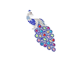 Silver & Blue Rhinestone Peacock Pin Brooch - $26.95