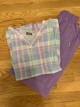 Landau M Scrub Outfit Set 2 Pocket Shirt 2 Pocket Pants Purple Plaid Ped... - $8.86