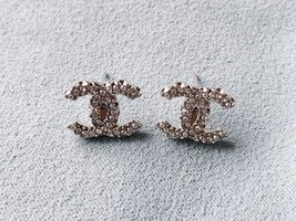 SALE***Authentic Chanel Classic CC Logo Crystal Strass Silver Stud Earrings  image 2