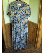 Womens Coco Blanco Brand Peasant Style Dress (14) Aztec Floral Blue Brow... - $28.00