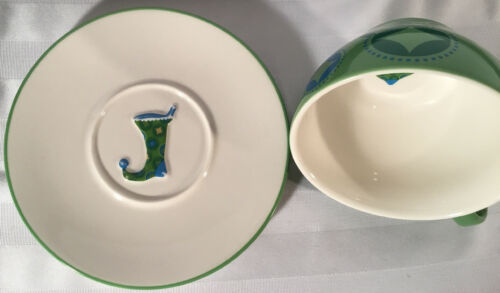 Starbucks Coffee HOLIDAY 2006 12oz Cup & Saucer Set 2Pc Green Blue Stocking image 2