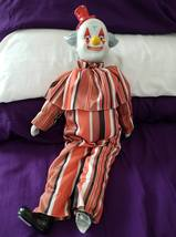Clown doll or figurine of ceramic and cotton body about 20 inches - $40.00