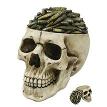 Pacific Giftware Bullets Top Skull Box Container Home Tabletop Decorativ... - $39.59
