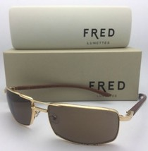 New FRED LUNETTES Sunglasses ELLESMERE SUN 206 C1 Gold Plated with Wood Temples