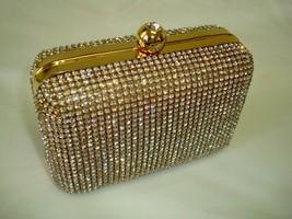 UK SELLER - New Womens LUXURY GOLD DIAMANTE CLUTCH BAG - Full Rhinestone... - $105.08