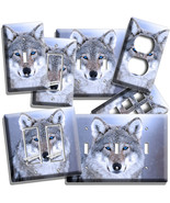 WILD GRAY WOLF BLUE EYES LIGHT SWITCH OUTLET WALL PLATE COVER BEDROOM RO... - $8.09+