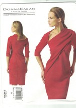 Vogue 1341 Donna Karan Asymmetrical Draped Neck Dress Pattern Choose Siz... - $24.49+