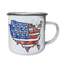 New American Hand Drawn Watercolor Retro,Tin, Enamel 10oz Mug h425e - $13.13