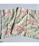2 King Sized Pillow Shams Green Pink Floral Martex Polycotton - $29.02