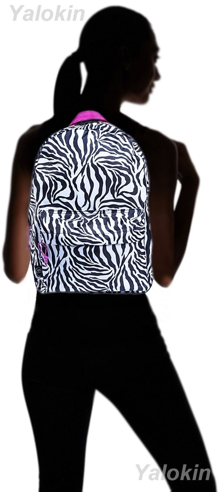 NEW Zebra Lightweight Compact Size Unisex Fashion Backpack Shoulder Book Bag