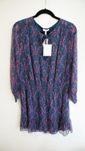 JOIE Freesia Blue & Purple Print Silk Kleeia Dress Sz L $378 NWT - $227.60