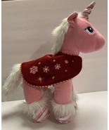 "Build A Bear Candy Cane Swirl UNICORN PONY 16"" Pink White Plush Red Blanket - $24.90"