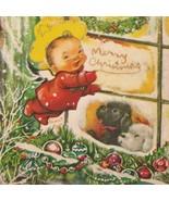 Vintage Christmas Card Charlot Byj Poodle Dogs Ornaments Glitter - $14.84