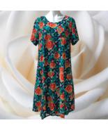 LuLaRoe LLR Carly Dress 2XL Rose Floral Lattice Buttery Soft Smooth Hi L... - $45.00
