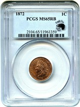 1872 1c PCGS MS65 RB (Eagle Eye Photoseal) Key Date - Indian Cent - Key ... - $3,288.30