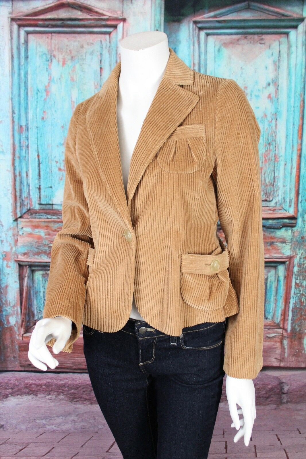 Primary image for Banana Republic 4 Tan Beige Velvet Wide Wale Cotton Corduroy Blazer Jacket Work