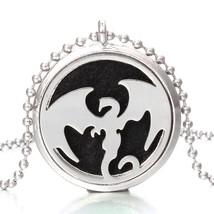 Aromatherapy Locket Necklace Essential Oils Diffuser Necklaces Stainless... - $9.72