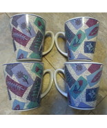 Stoneware 12 oz ounce Mug Cup Set of 4 Purple Flower Green floral block ... - $39.59