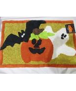 Halloween Ghost Pumpkin Bat Bathmat Kitchen Throw Rug 21x34 NWT - $22.99