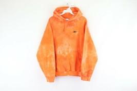 Vintage 90s Reebok Herren Groß Distressed Acid Wash Kapuzenpullover Orange - $79.15
