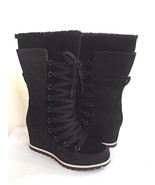 UGG MASON BLACK WATER/SNOW PROOF LEATHER WEDGE LACE BOOT US 8.5 / EU 39.... - $135.58