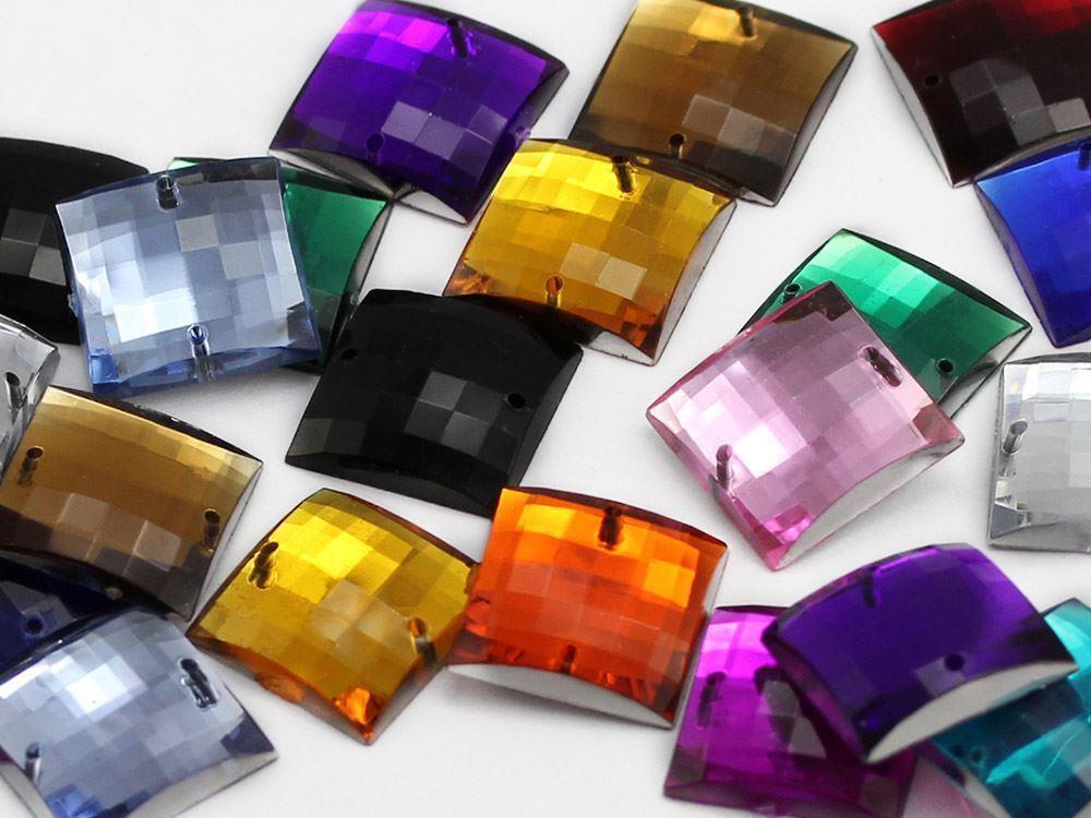 16mm Purple Amethyst CH05 Square Flat Back Sew On Gems For Craft 40 PCS