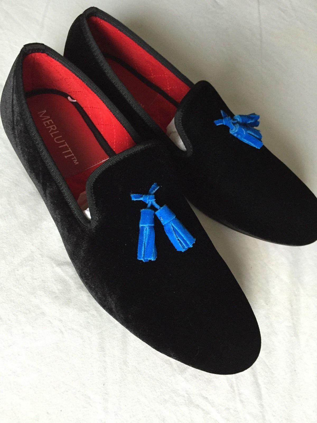 64269cf937b Merlutti Black Velvet With Gold Copper Buckle Men s Shoes
