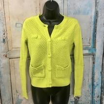 CAbi Loren Cardigan Sweater, Size XS, Lime Green Textured - $30.61