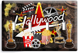 HOLLYWOOD TV ROOM HOME MOVIE STARS THEATER 4 GANG LIGHT SWITCH WALL PLAT... - $19.99