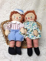 Rare, 1947 Johnny Gruelle Own 20in Raggedy Ann and Andy Dolls - $142.45